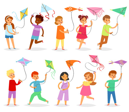 Kids kite vector child character boy or girl playing and childly kiteflying activity illustration set of children with kites game isolated on white background.