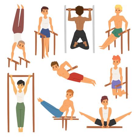 Cartoon horizontal chin-up street workout strong athlete vector man gym doing bar exercise street hard work tricks muscular fitness sportman character illustration.