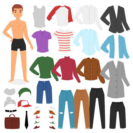 Man clothing vector boy character dress up clothes with fashion pants or shoes illustration boyish set of male cloth for cutting cap or T-short isolated on white background. Stockfoto - 114843786