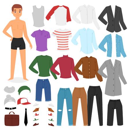 Mann Kleidung Vektor Junge Charakter verkleiden Kleidung mit Mode Hosen oder Schuhe Illustration jungenhaften Satz von männlichen Stoff für das Schneiden der Kappe oder T-Short lokalisiert auf weißem Hintergrund. Vektorgrafik
