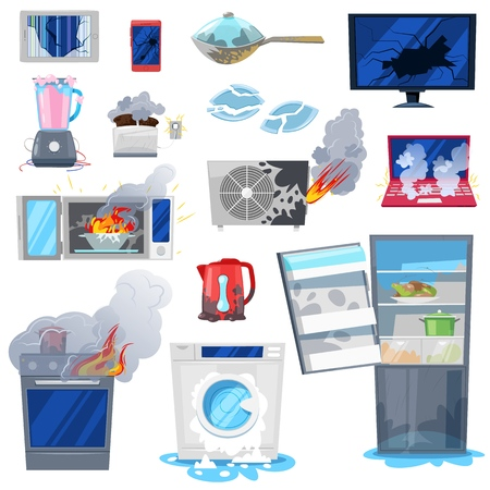 Broken appliance vector damaged homeappliances or burnt electrical household equipment in fire illustration set of burnt-out refrigerator or washing machine in damage isolated on white background.
