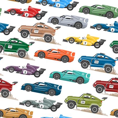 Sport snelheid auto en offroad rally auto kleurrijke snelle motor racing auto bestuurder vervoer motorsport vector illustratie naadloze patroon achtergrond. Vector Illustratie