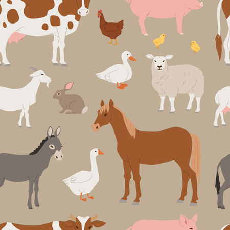 Different home farm vector animals and birds like cow, sheep, pig, duck set illustration. Cartoon mammal comic farmers animals design agriculture isolated on white nature background seamless pattern background