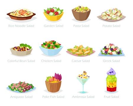Ensalada de alimentos saludables de vectores con verduras frescas tomate o patata en ensaladera o plato de ensalada para la cena o el almuerzo conjunto de ilustración de dieta de comida orgánica aislada sobre fondo blanco. Ilustración de vector