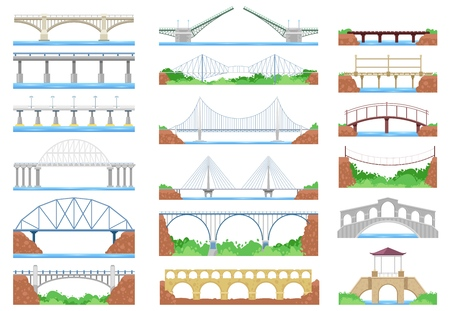 Bridge vector urban crossover road and bridge-construction for transportation illustration bridged set of river bridge-building with carriageway isolated on white background. Vecteurs