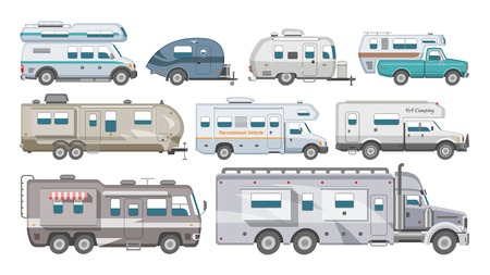 Caravan vector rv camping trailer and caravanning vehicle for traveling or journey illustration transportable set of camp van or tourism transport isolated on white background.
