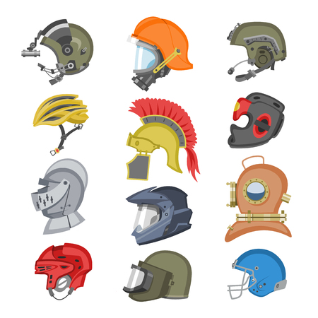 Helmet vector helm equipment protection or safety sport headpiece protecting head illustration set of motorcycle headgear with helmet-shield and ancient knight headwear isolated on white background.  イラスト・ベクター素材