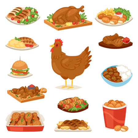 Chicken vector cartoon chick character hen and food chicken-wings with vegetables and barbecue sausage for dinner illustration set of fastfood burger and french fries isolated on white background.