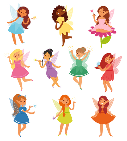 Fairy girl vector magic faery character and fantasy beautiful princess of fairy-tale in fairyland illustration fairyism set of girlie faerie pixy with magic wings isolated on white background