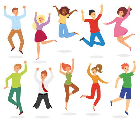 Jumping people vector happy woman or man character in activity of happiness and freedom illustration set of adults smiling men and women jump energy isolated on white background. Ilustração