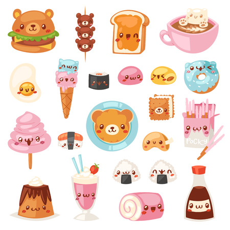 Food kawaii vector cartoon bear expression characters of fastfood hamburger with icecream or doughnut emoticon illustration set of burger emotion and coffee emoji isolated on white background.