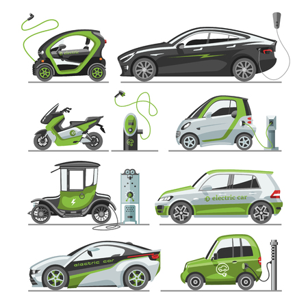 Electric car with solar panels eco electro transport vector illustration automobile socket electrical car battery charger. Flat vehicle energy design power transportation.