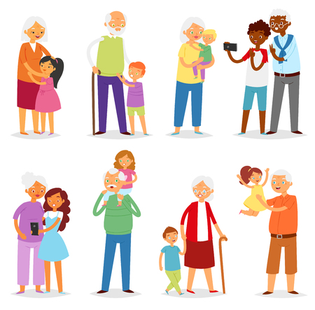 Grandparents vector family together grandfather or grandmother with grandchildren illustration set of elderly people character granny or grandpa with kids boy or girl isolated on white background. 스톡 콘텐츠 - 112354135