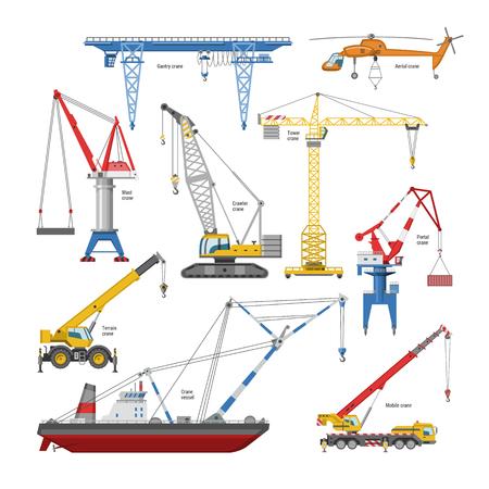 Grue à tour de vecteur de grue et équipement de bâtiment industriel ou ensemble d'illustration de techniques de construction de portique élevé ou de portique-grue isolé sur fond blanc. Vecteurs