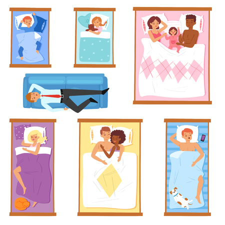 Sleeping people vector sleepy cartoon characters of man or woman and family with baby sleep on pillow in bed overnight illustration set of sleepers sleepyhead businessman isolated on white background. Stock Vector - 112354136