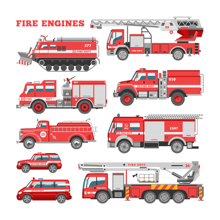 Veicolo di emergenza antincendio di vettore del motore dei pompieri o camion dei pompieri rosso con la manichetta antincendio e l'insieme dell'illustrazione della scaletta dell'automobile dei vigili del fuoco o del trasporto dell'autopompa antincendio isolato su priorità bassa bianca. Vettoriali