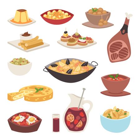 Hiszpania kuchnia wektor jedzenie gotowanie tradycyjne danie przepis hiszpańskie przekąski tapas chrupiący chleb jedzenie gastronomia ilustracja. Gotowane mięso typowe włoskie owoce morza.