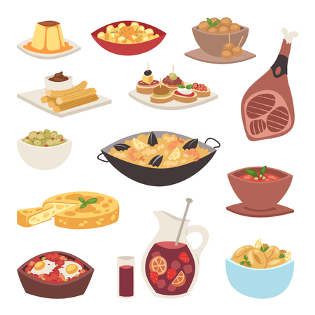 Spain cuisine vector food cookery traditional dish recipe spanish snack tapas crusty bread food gastronomy illustration. Cooked meat typical italian seafood.