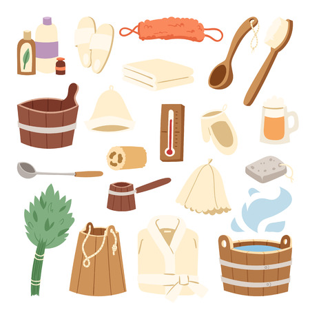 Bath house sauna hot water spa termal steam healthcare concept bathroom broom and sauna bucket vector illustration. Russian bath-house icons wood material water care procedure Çizim