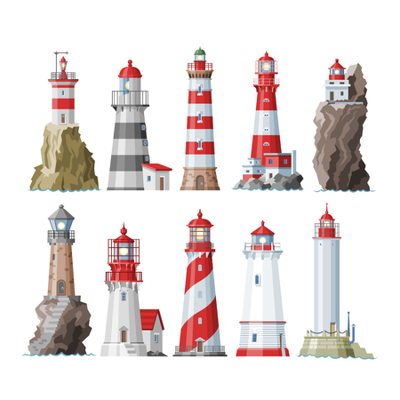 Lighthouse vector beacon lighter beaming path of lighting to ses from seaside coast illustration set of lighthouses isolated on white background. Ilustração
