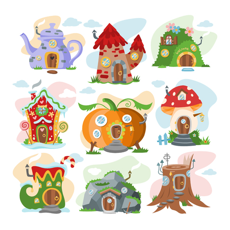 Fantasy house vector cartoon fairy treehouse and magic housing village illustration set of kids fairytale pumpkin or stone playhouse for gnome isolated on white background