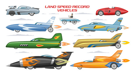 Record speed car vector landspeed automobile and fast vehicle transport on autoshow illustration machinery set of modern auto motorshow and landspeedrecord machine isolated on white background.