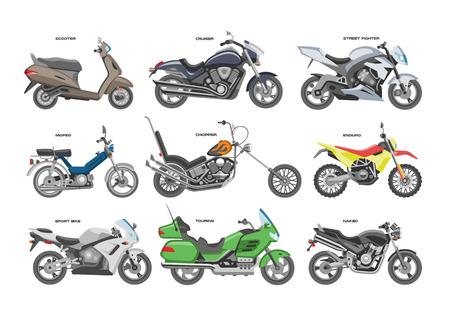 Moto vettoriale moto o chopper e ciclo di automobilismo giro trasporto illustrazione motociclismo insieme di moto scooter isolato su priorità bassa bianca.