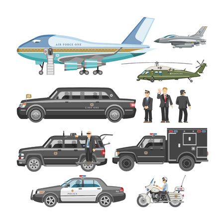 Government car vector presidential auto and luxury business transportation with police car illustration set of transport plane vehicle and motorcycle with president isolated on white background.