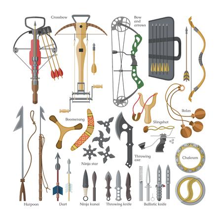 Lanzar flechas afiladas de vector de arma de ballesta y cuchillo o hacha conjunto de armamento de ilustración de ninja-kunai o shuriken y arpón de equipo de armadura de mango aislado sobre fondo blanco