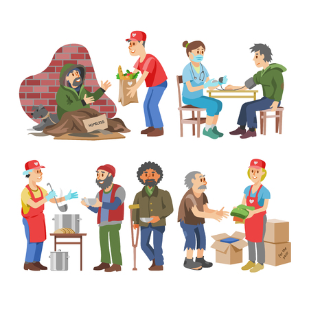 Bénévoles de vecteur de charité s'occupant de personnages âgés handicapés ou aveugles et don bénévole ou illustration de bien-être mis en communauté sociale volontaire isolée sur fond blanc.
