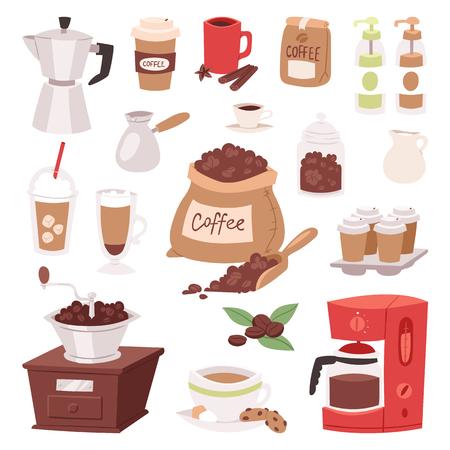 Koffie drinken cartoon pot apparaten en ochtend drank koffiezetapparaat espressokopje, desserts koffie product vectorillustratie. Americano latte macchiato restaurant menu glazen mok.