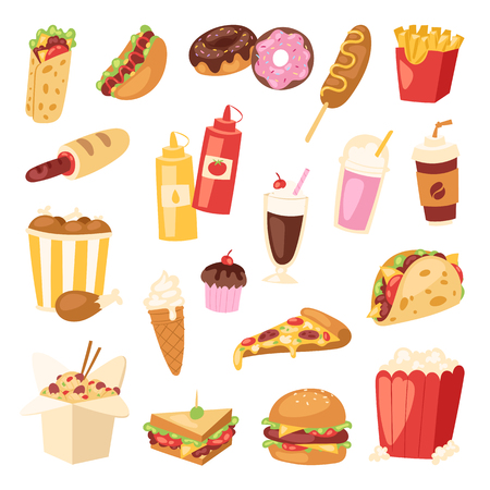Fast food vector unhealthy cartoon burger sandwich, hamburger, pizza meal fastfood restaurant menu snack illustration. Tasty fried hot bread breakfast lunch.