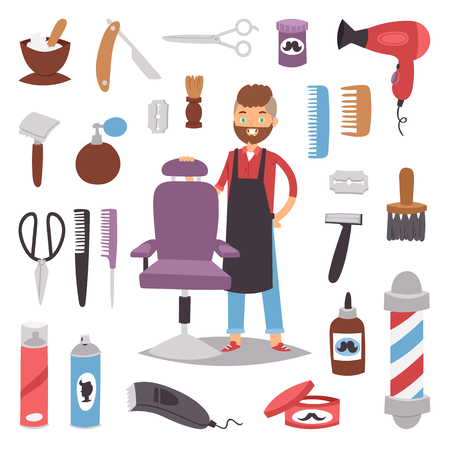 Barbershop hairdresser beard hipster man vector character making haircut saloon tools beauty barber shop hair care accessories flat design illustration. Modern stylist barrette worker hairstyle Stock Illustratie