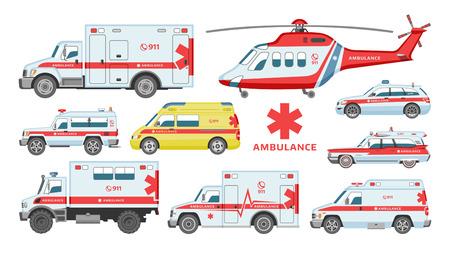 Krankenwagen-Vektor-Notfall-Krankenwagen-Service-Fahrzeug oder Lieferwagen und medizinische Versorgung im Krankenhaus-Illustrationssatz von Hilfsdienst-Transport 911-Hubschrauber einzeln auf weißem Hintergrund.