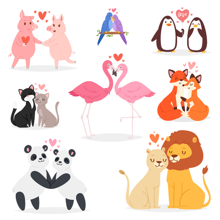 Couple in love vector animal lovers characters panda or cat on loving date on Valentines day and flamingo kissing loved bird illustration hearted lovely set isolated on white background. Vetores