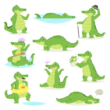 Crocodile vecteur caractère crocodilien d'alligator vert dormant ou jouant illustration ensemble enfantin animalier de prédateur drôle isolé sur fond blanc. Vecteurs
