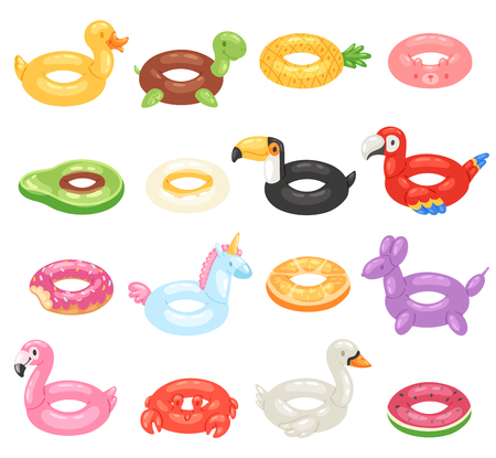 Inflatable vector inflated swimming ring and life-ring in pool for summer vacation illustration set of inflation rubber toys flamingo or donut isolated on white background.