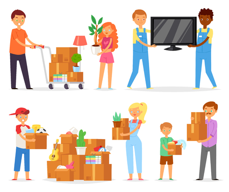 People moving vector family with kids packing boxes or packages to move to new apartment illustration set of woman and man characters packaging box in house isolated on white background.