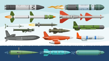 Missile vector military missilery rocket weapon and ballistic nuclear bomb illustration militarily set of rocket-propelled warhead isolated on background.