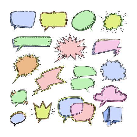 Bubbles vector blank speech bubbling messages for communication or dialog set of cartoon bubbly chat balloon sketch think or talk isolated on white background illustration.