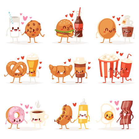 Food kawaii vector cartoon expression characters of fastfood hamburger loving doughnut emoticon illustration valentines set of burger emotion kissing coffee emoji in love isolated on white background.