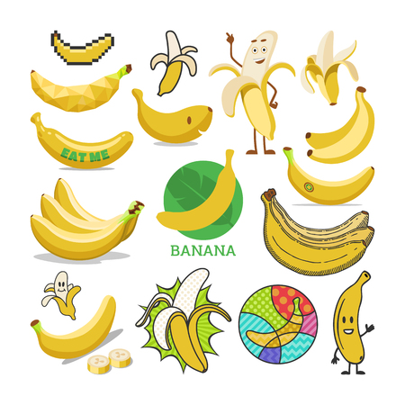 Frutta tropicale gialla di vettore della banana o spuntino fruttato sano del set di illustrazione di banana-split di dieta di alimenti biologici di emoticon di banane del fumetto isolato su priorità bassa bianca.