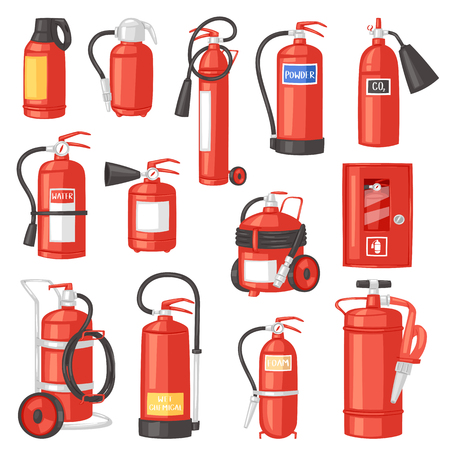 Fire extinguisher vector fire-extinguisher for safety and protection to extinguish fire illustration set of extinguishing equipment of firefighter isolated on white background. Vector Illustration