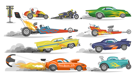 Race car vector drag racing on speedcar on a track and auto bolide driving on rally sport event formula grandprix racetrack illustration set isolated on white background. Illustration