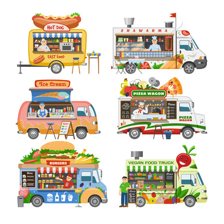 Food truck vector street food-truck vehicle and fastfood delivery transport with hotdog or pizza illustration set of man character selling in foodtruck isolated on white background.