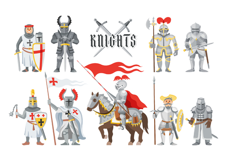 Knight vector medieval knighthood and knightly character people with helmet armor and knightage sword illustration set of chivalry man on horse isolated on white background
