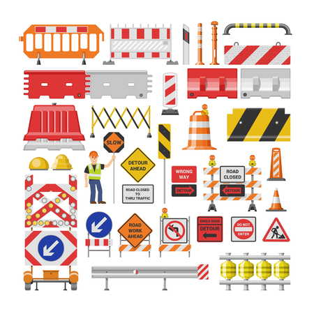 Road sign vector traffic street warning and barricade blocks on highway illustration set of roadblock detour and blocked roadwork barrier isolated on white background. Ilustração