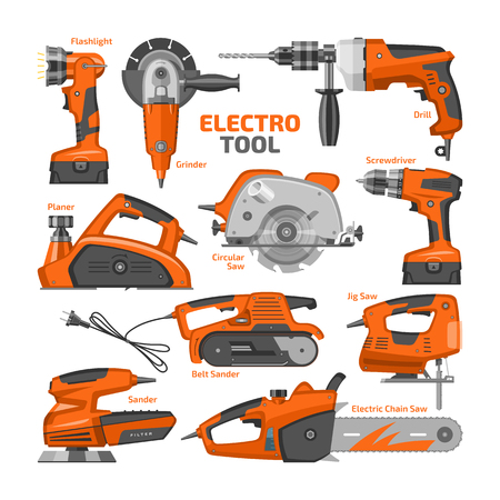 Power tools vector electric construction equipment power-planer grinder and circular-saw illustration machinery set of screwdriver and electrical sander in toolbox isolated on white background. Illustration