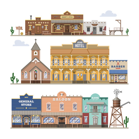 Saloon vector wild west building and western cowboys house or bar in street illustration wildly set of country landscape with architecture hotel store isolated on white background.