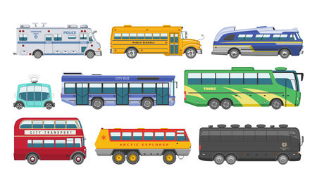 Bus vector public transport tour or city vehicle transporting passengers schoolbus police and transportable car illustration transportation set isolated on white background Illustration